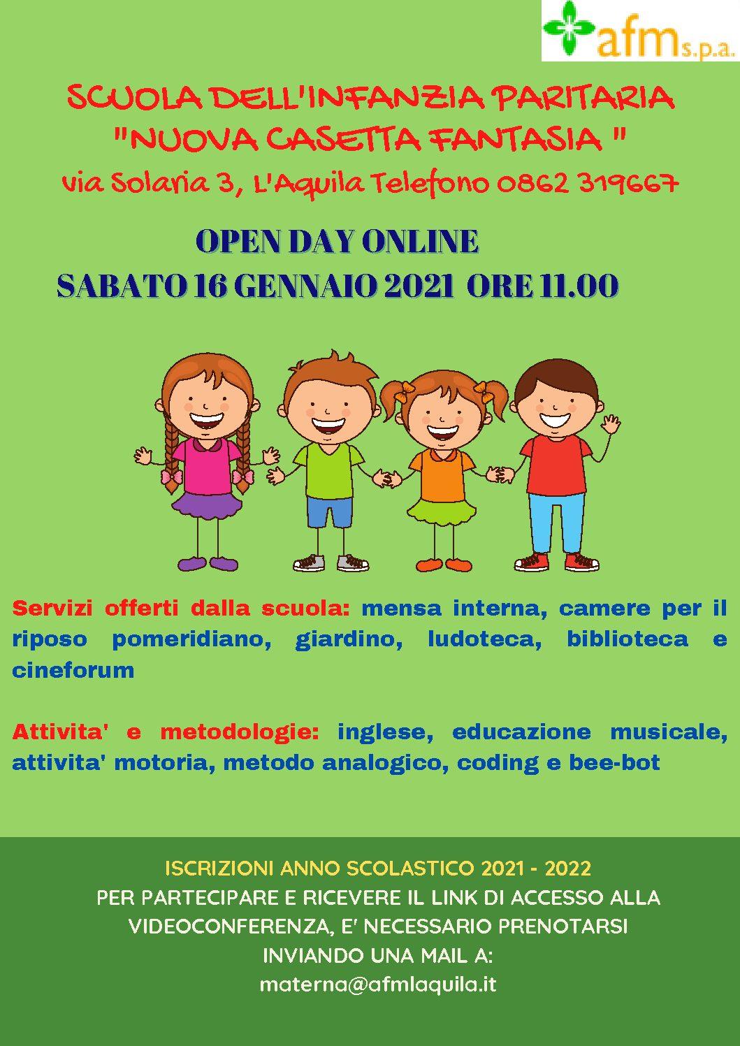Open day Casetta Fantasia 16 gennaio 2021